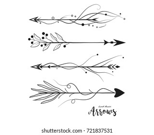Arrow hand drawn set. Vector arrows collection in boho rustic style. Linear beautiful ornate with curve dots vintage illustration. Decorative lovely pattern arrows icon art selection for design