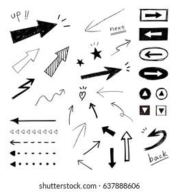 Arrow, hand-drawn icons / Vector EPS 10 illustration