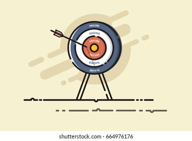 Arrow hit the FAIL on target. Fail aiming to failure bullseye. Business , Financial and Investment concept. MBE design. Vector illustrator.