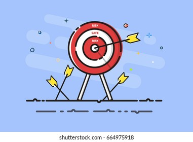 Arrow hit the SAFE on target. Successful aiming to safe bullseye. Business , Financial and Investment concept. MBE design. Vector illustrator.