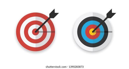 Arrow hitting target. Flat design vector illustration.