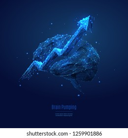 Arrow up and human brain. Technological concept. Low poly blue. Polygonal abstract illustration. Low poly vector illustration of  starry sky or Cosmos. Vector image in RGB Color mode. Biohacking theme