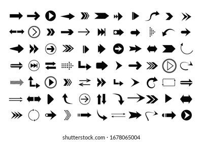 Arrow icon. Big set of vector flat arrows. Arrow vector collection. Arrow. Cursor. Modern simple arrows.