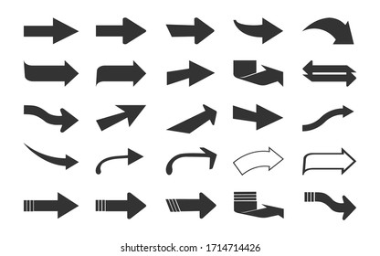Arrow icon collection. Black arrows isolated on white background.