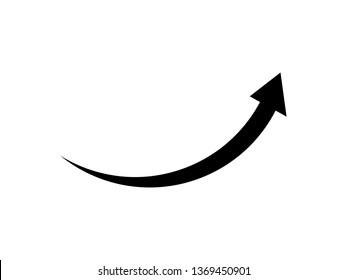 arrow icon flat black on white background, sharp corner, vector  illustration