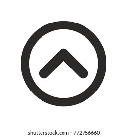 Up arrow icon in flat style on white background vector illustration