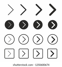 Arrow Icon set in flat style. Arrows symbol web design, logo Vector