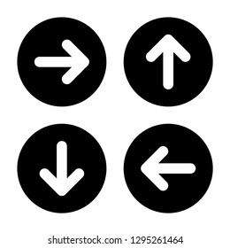 Arrow icon set. Glyph style. Left, right, up, and down arrows in black circles. Straight bold arrows with rounded corners.
