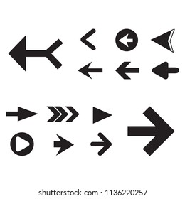 Arrow icon set isolated on white background. Trendy collection of different arrow icons in flat style for web site. Cretive arrow template for app, ui and logo, vector illustration eps 10