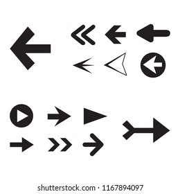 Arrow icon set isolated on white background. Trendy collection of different arrow icons in flat style for web site. Creative arrow template for app, ui and logo. Vector illustration, eps 10