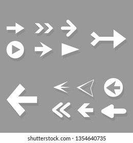Arrow icon set isolated on gray background. Trendy collection of different arrow icons in flat style for web site. Creative white arrows right and left template for app and ui. Vector illustration