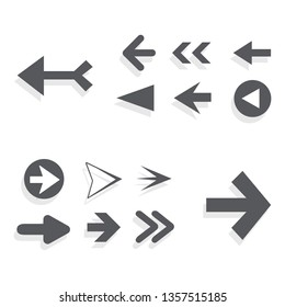 Arrow icon set isolated on white background. Trendy collection of different arrow icons in flat style for web site. Creative arrows right and left template for app, ui and logo. Vector illustration