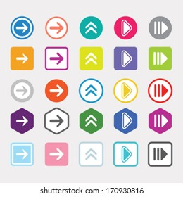 Arrow icon set popular color web sign. Simple shape internet button on gray background. Contemporary modern style for site or blog. Vector illustration internet design elements.
