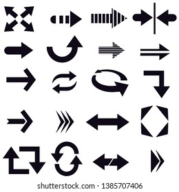 Arrow icon set vector black and white