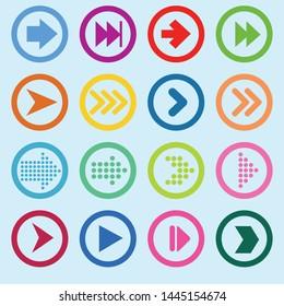 Arrow icon set. Vector. Flat design paper arrow icon vector template design element set.
