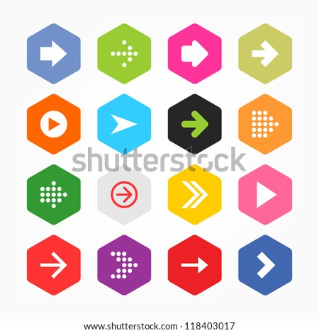 2f715bc6ae Arrow icon sign set. Simple rounded hexagon internet button gray  background. Solid plain monochrome