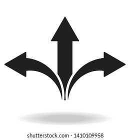 Arrow icon vector.three-way direction arrow sign, road direction icon, vector illustration