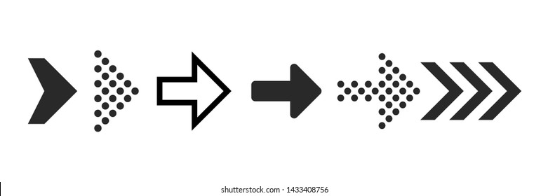 Arrow icons. Black digital symbols and arrows for click next, up or right, pointer buttom and forward, illustration of rewind indicator isolated vector collection