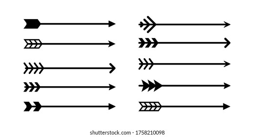 Arrow icons collection. Vector isolated elements. Hipster arrow. Tribal arrow. Black arrow icon vector collection. EPS 10