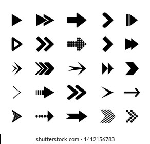 Arrow icons.  Icons cursor button label next page web interface. Flat vector navigation symbol.