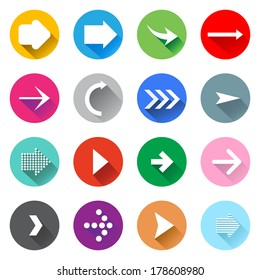 Arrow icons set. Flat design