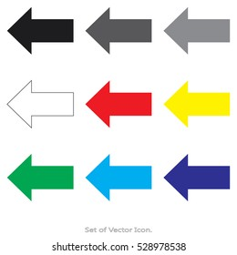 Arrow icons. Set of flat style. Vector illustration.