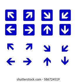 Arrow Icons. set arrow in various directions. in the background and without. Blue, each separately