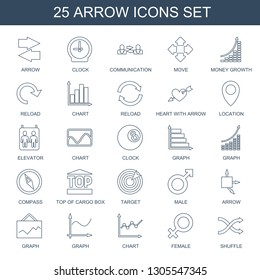 arrow icons. Trendy 25 arrow icons. Contain icons such as clock, communication, move, money growth, reload, chart, heart with arrow, location, elevator. icon for web and mobile.
