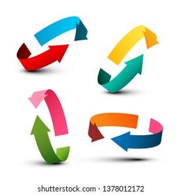 Arrow Icons. Vector Colorful 3D Arrows Symbols.