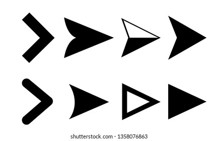 Arrow icons. Vector pointers icons for web navigation design elements. Vector illustration EPS 10