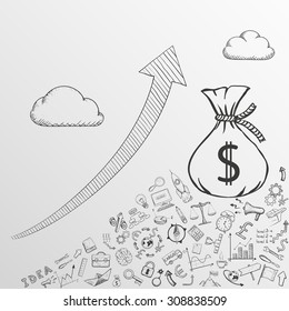 Up arrow. Increase profits. Doodle image. Stock Vector illustration.