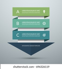 Arrow infographic concept. Business template with 3 steps, options, parts. Can be used for workflow layout, diagram, chart, step by step infographics, web design. Vector illustration
