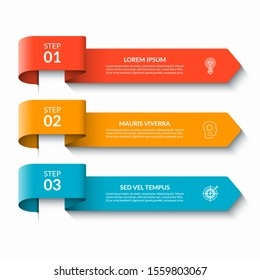 Arrow infographic design elements. Vector banner with 3 options, steps, parts. Can be used for web, diagram, graph, workflow layout, chart, report.