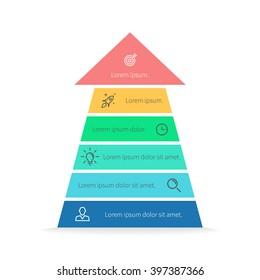 Arrow infographic. Arrow, pyramid chart, diagram, scheme, graph with 6 steps, options, parts, processes. Business strategy, success. Vector design element.