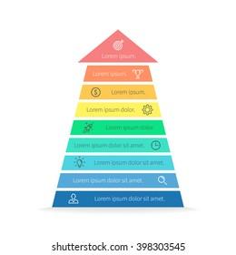 Arrow infographic. Arrow, pyramid chart, diagram, scheme, graph with 9 steps, options, parts, processes. Business strategy, success. Vector design element.
