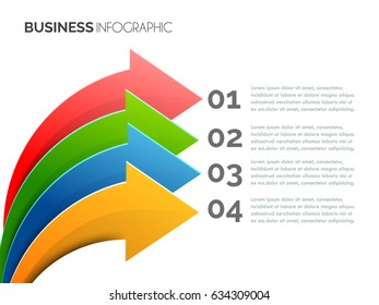 Arrow infographic template. Infographic options banner. Vector layout for business  4 steps, parts, stages, processes.