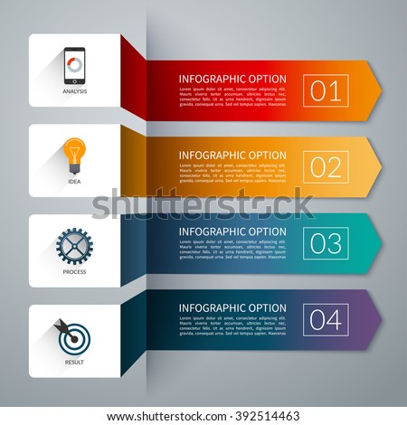 arrow infographic template infographic options banner stock vector