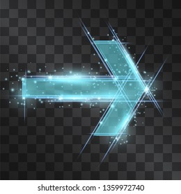 Arrow laser blue glow vector. Motion effect light blinking on transparent background. Speedy energy stream beam for modern hi tech posters. Techno neon flow of fast particles, space shine trail.