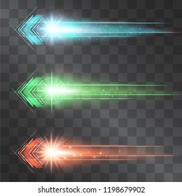 Arrow laser glow vector illumination set. Motion effect light blinking on transparent background. Light energy stream for modern hi tech. Power neon flicking flow of high speed particles, space shine