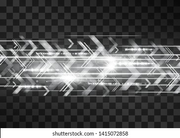 Arrow laser silver glow vector illumination. Motion effect light blinking on transparent background. Light energy stream for modern hi tech. Power flicking flow of high speed particles, space shine.