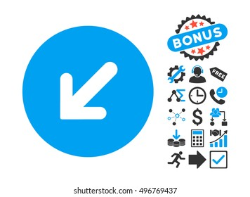 Arrow Left-Down pictograph with bonus icon set. Vector illustration style is flat iconic bicolor symbols, blue and gray colors, white background.