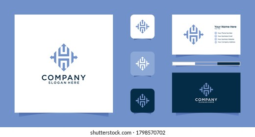 Arrow letter h logo icon design and business card