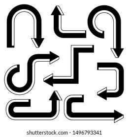 arrow line vector illustration set