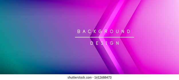 Arrow lines, technology digital template with shadows and lights on gradient background. Trendy simple fluid color gradient abstract background with dynamic straight shadow lines effect. Vector