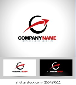 Arrow Logo Concept Design. Circle Logo with arrow and business card template.