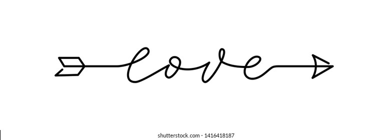 Arrow Love script word hand drawn lettering. Modern calligraphy Design for print on shirt, poster, banner. Graphic Printed tee. Black text on white background. Vector illustration