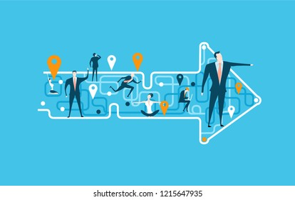 Arrow made of map lines with stop marks and people on that abstract locations, representing different area of life and business career. Concept illustration. The way we are going