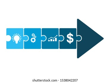 Arrow made of puzzles. Vector illustration. Business development concept