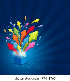 Arrow magic box with sparkling light background, vector illustration
