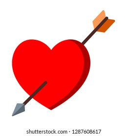 Arrow in the middle of a red heart. Design by Inkscape.